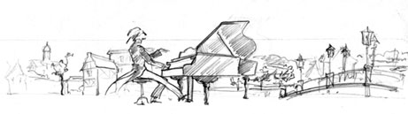piano street. sketch for header of web-site