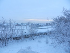 Зимние сумерки. Закат над гаражами