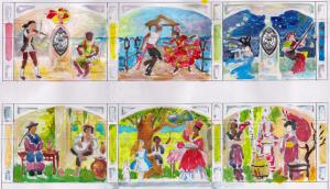 Цветной набросок общей композиции (две стороны стены)