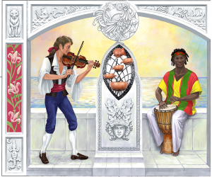 Композиция со скрипкой и джембе