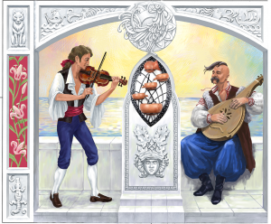 Композиция со скрипкой и бандурой