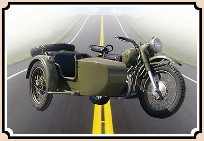 Photo automobile.M-72 (motorcycle with the side-car)