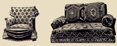 Кресло с драпировкой и турецкий диван