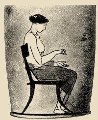the image of chair (klismosa) in the vase painting