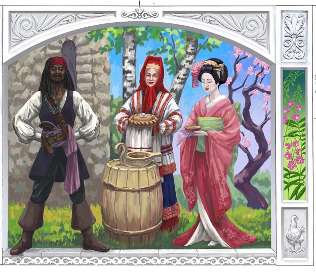 Правая часть триптиха. Пиратско-карибский, русский и японский персонажи